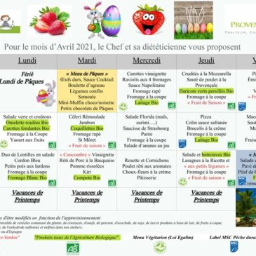 Menu cantine : avril